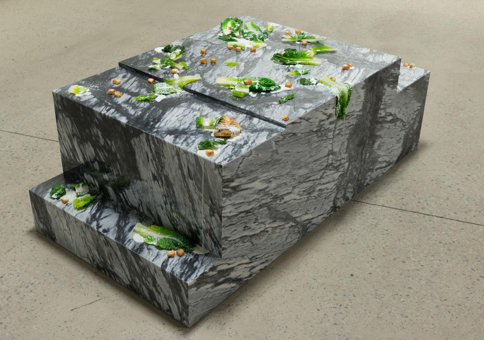 "Olive Garden of Eden, 2016 Uréthane, huile, marble, poivre, 26 ½ 70 x 36"""
