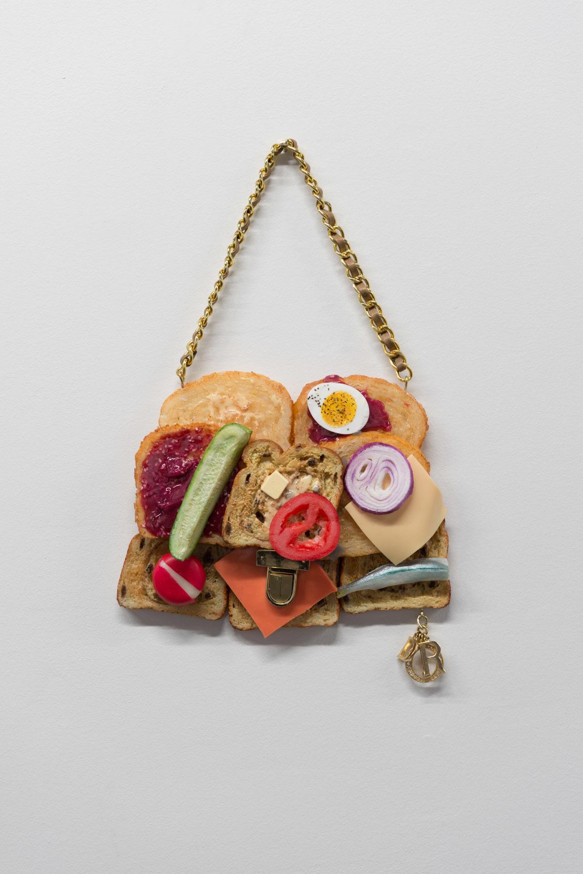 """Earl of Sandwich , 2015 Huile, uréthane et matériel de bourse 11 x 9""""."""