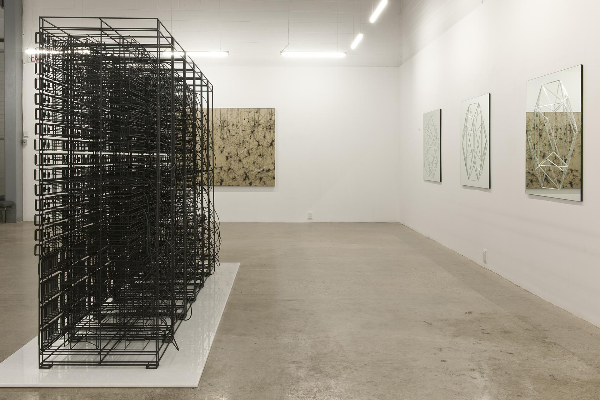 Engrammes (le monde des idées)  , 2013 Acier, marbre blans, caoutchouc, aimants 206 x 388 x122 cm