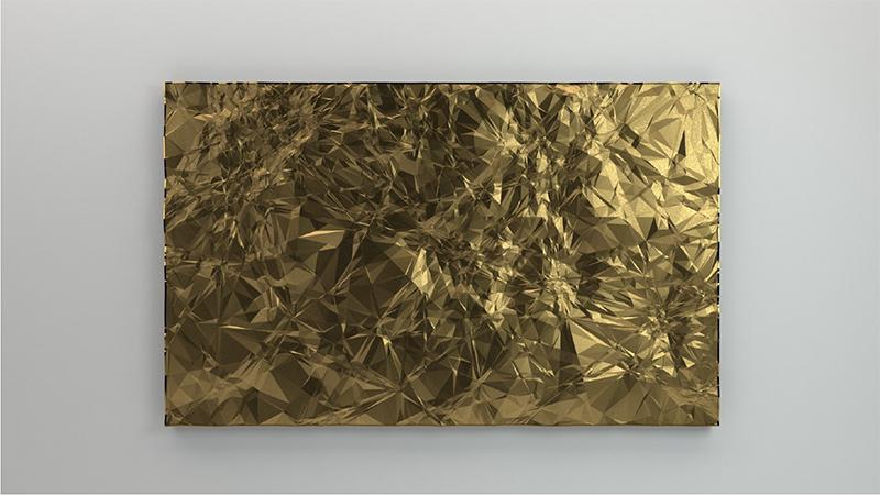 "Constellations (or) , 2016Acide polylactique, peinture acrylique  42 x 68"""
