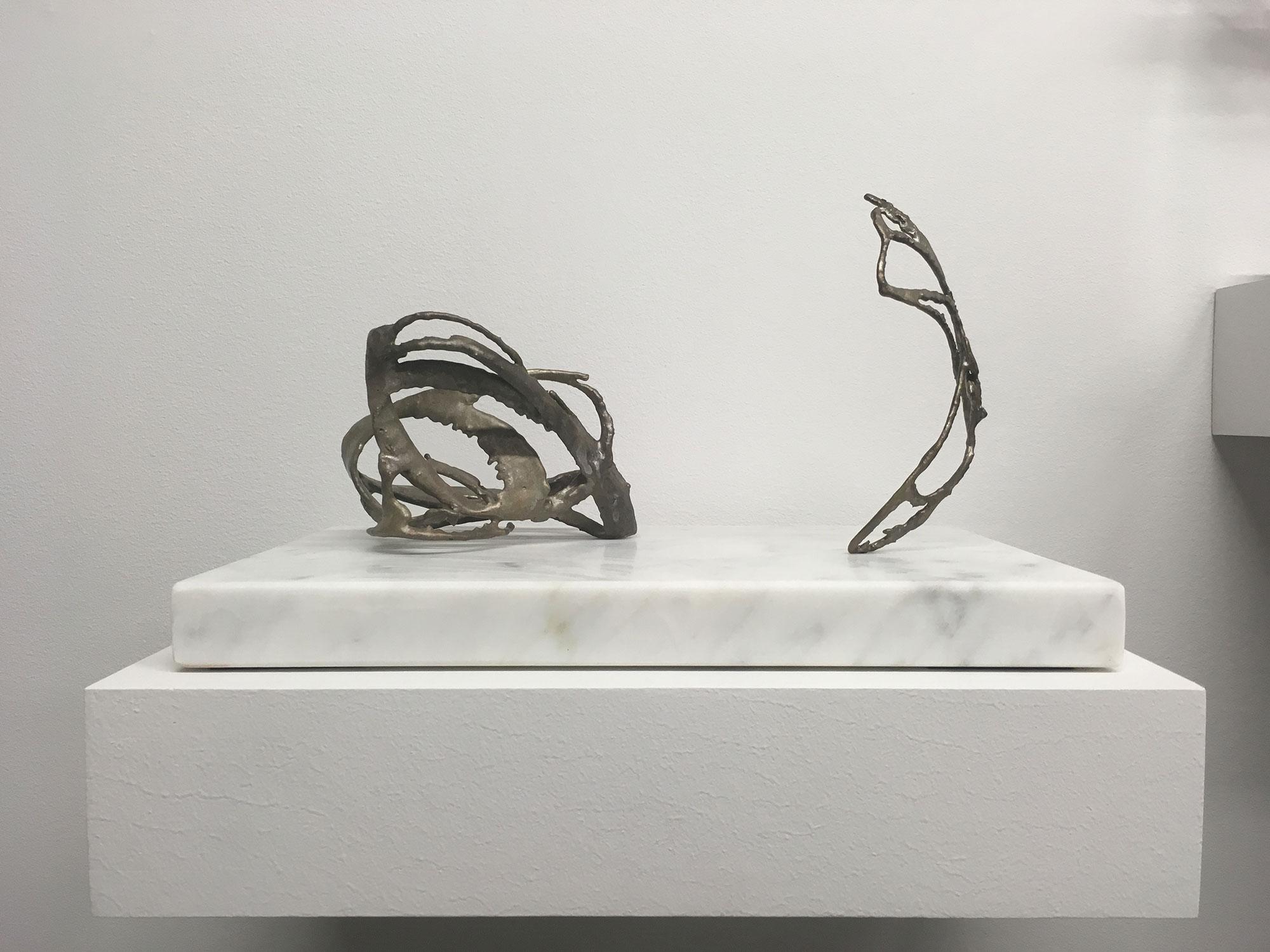 """Modèles pour un univers 1 , 2017, Silver on bronze, marble, 7"""" x 13"""" x 8"""""""