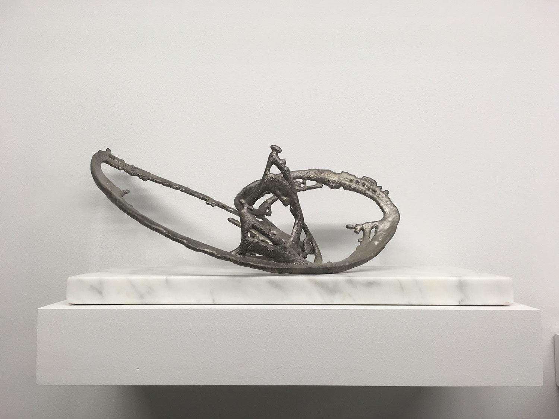 """Modèle pour un univers 2 , 2017, Silver on bronze, marble, 8"""" x 19"""" x 8"""""""