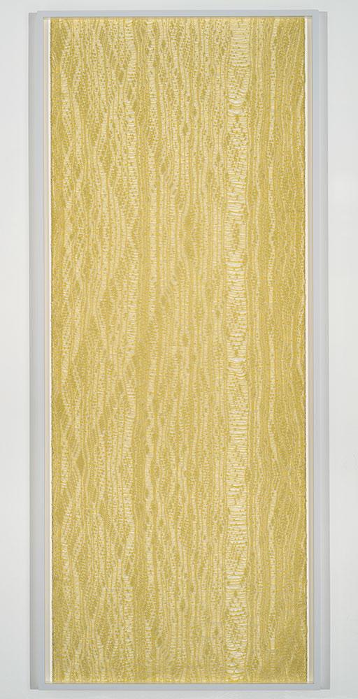 """Flottés 1 , 2015, Coton, polyester, et rayonne  87"""" x 36 1/4"""""""