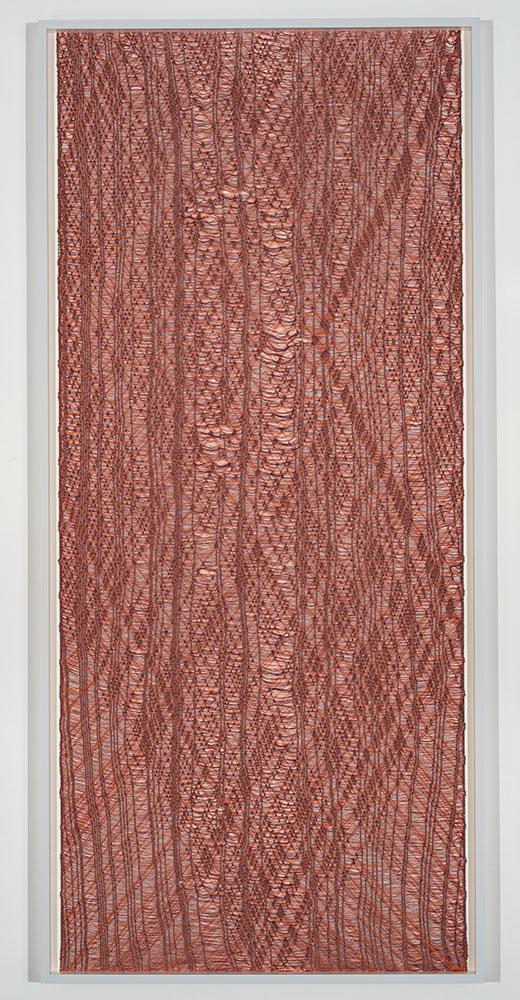 """Flottés 2 , 2015, Coton, polyester, et rayonne , 86"""" x 40"""""""