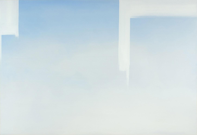 """In Absentia (Skyblue - Titanium White) , 2016, Acrylique sur toile tendue sur faux-cadre, 54"""" x 78"""""""