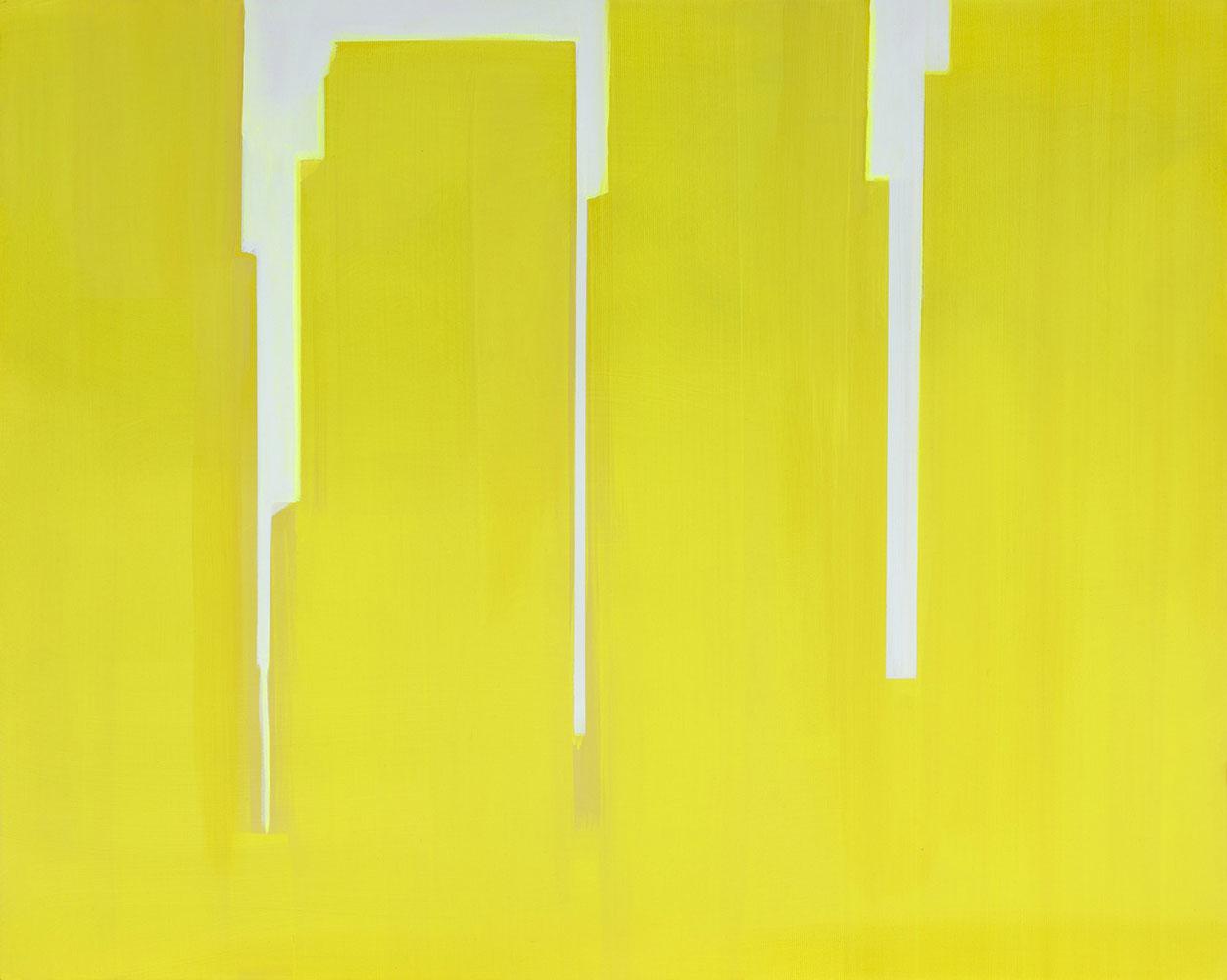 """In Absentia (Yellow - Pink White) , 2015, Acrylique sur toile de lin tendue sur faux-cadre, 24"""" x 30"""""""