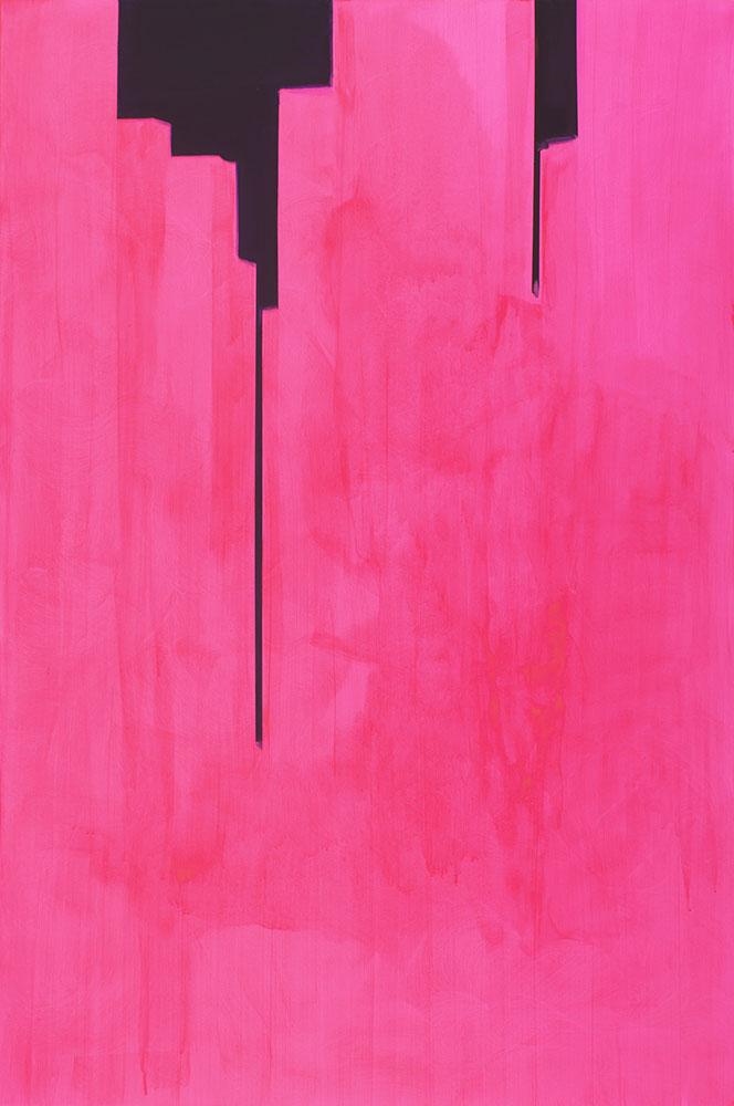 """In Absentia (Opera Pink - Purple) , 2016, Acrylique sur toile tendue sur faux-cadre, 72"""" x 48"""""""