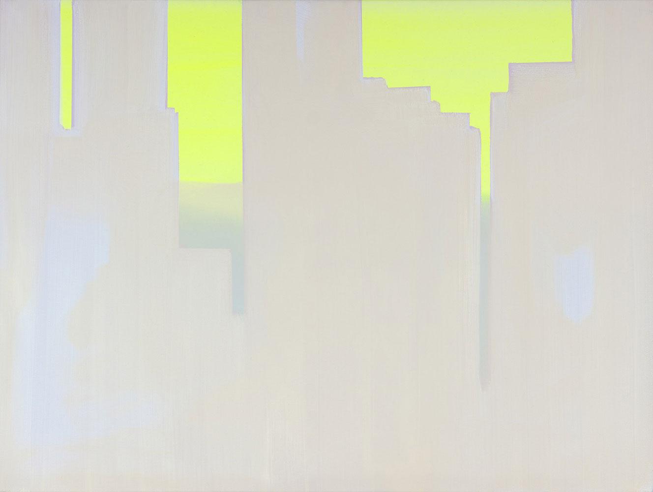 """In Absentia (Luminous Lemon - Pale Pink - Lavender) , 2016, Acrylique sur toile tendue sur faux-cadre, 30"""" x 40"""""""