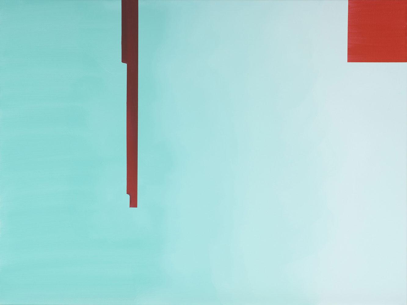 """In Absentia (Pale Aqua - Scarlet Red) , 2016, Acrylique sur toile tendue sur faux-cadre, 30"""" x 40"""""""
