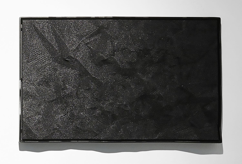 """Nicolas Baier ,  Lamelle 16 (noire-positif),  2017, Acide polylactique, noir de carbone, peinture nitro 2G, acier, 9"""" x 15""""."""