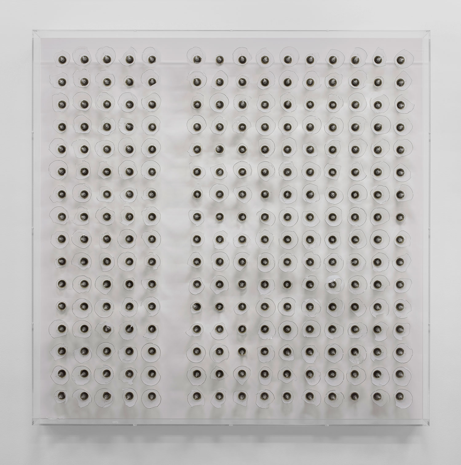 """Michel de Broin,   Crépuscule #240 , 2018, Ampoules, bois, acrylique, 47 1/8"""" x 47 1/8"""" x 5 1/4""""."""