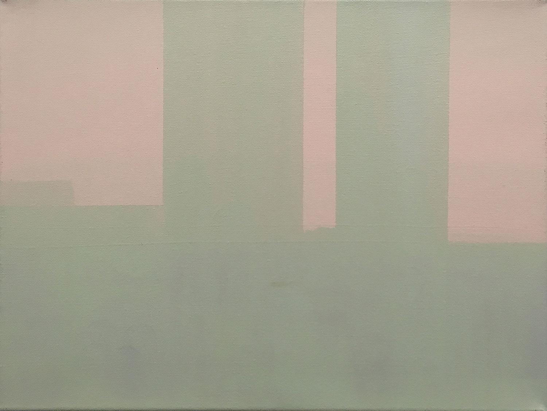 "Wanda Koop,   In Absentia (Note for Pale Pink - Misty Green) , 2015, Acrylique sur toile tendue sur faux-cadre, 12"" x 16""."