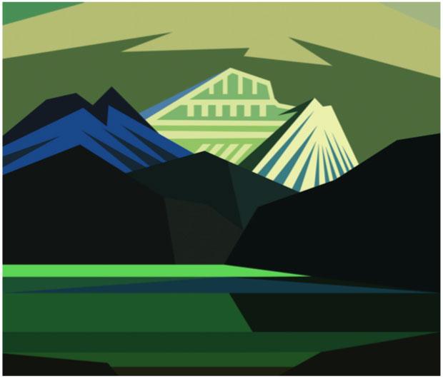 """Electric Harris Green Mountain,  2019. Impression sur film Duratrans (Kodak) rétroéclairée par DEL, 34 ½"""" x 40"""". Dimensions non encadrées."""