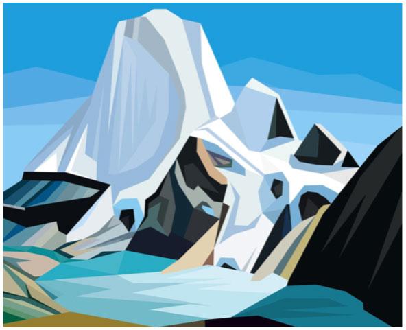 """Electric Harris Mount Robson, 2 019. Impression sur film Duratrans (Kodak) rétroéclairée par DEL, 32 ½"""" x 40"""". Dimensions non encadrées."""