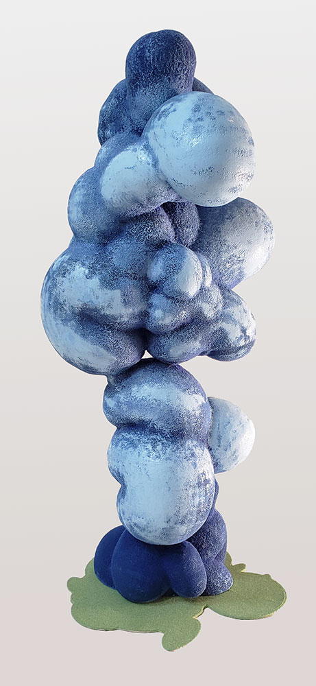"""Cloud Stack , 2019. Alkyde, flocage, PLA, 20"""" x 9"""" x 8""""."""