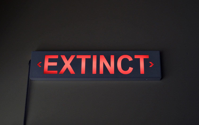 """EXTINCT , 2017. Aluminium, polycarbonate, quincaillerie, câblage, lumière Édition de 440"""" x 3"""" x 9""""."""