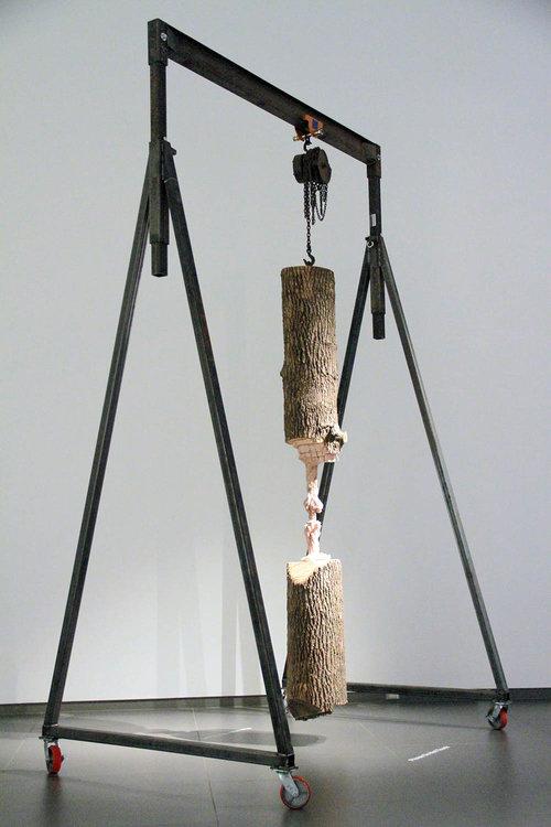 """Study for Cord Progression , 2017. Tronc de frêne, portique, matériel de gréement,   132"""" x 24"""" x 32""""."""