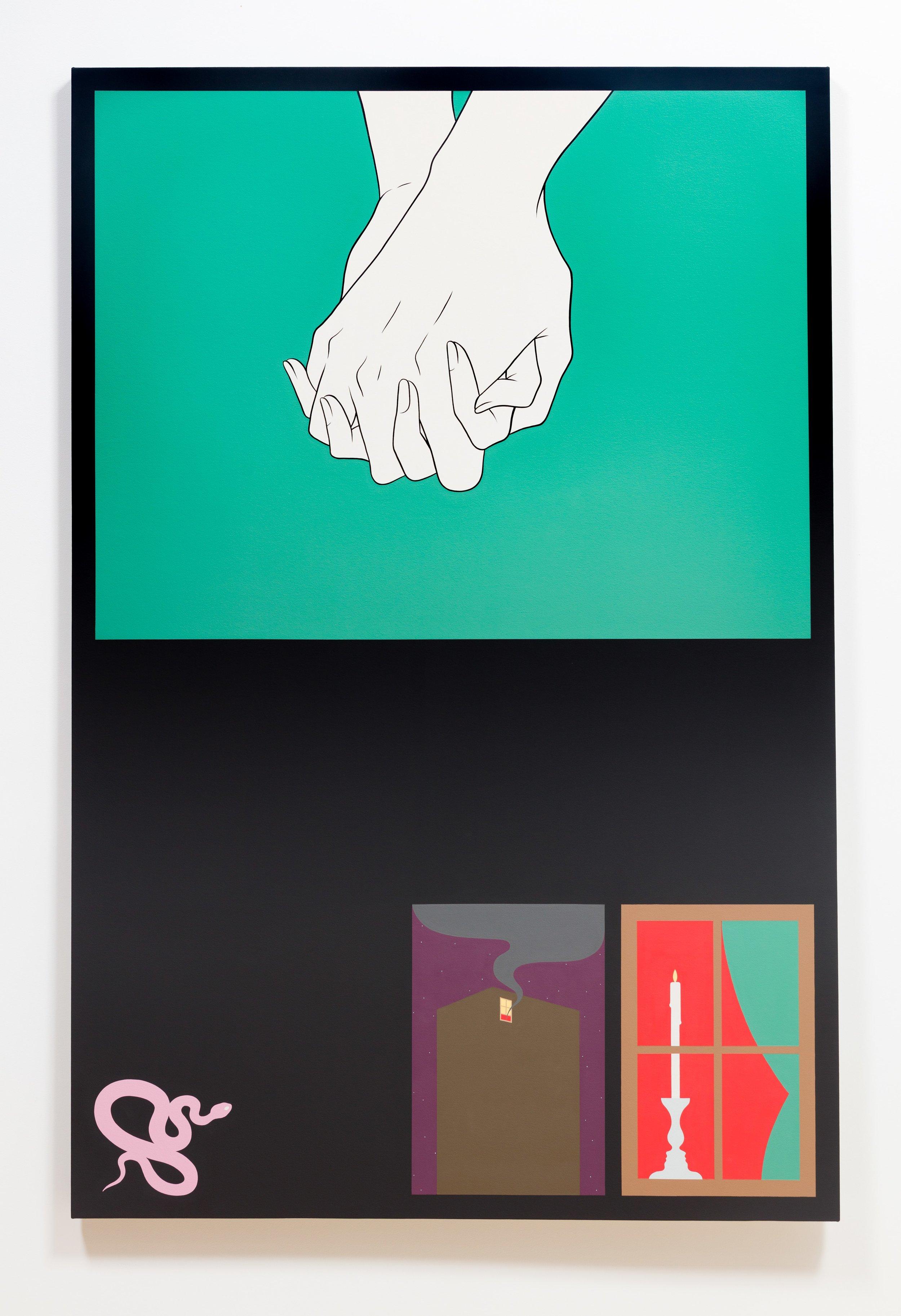 "Casual Encounter , 2017, Acrylique sur toile, 62"" x 48"""