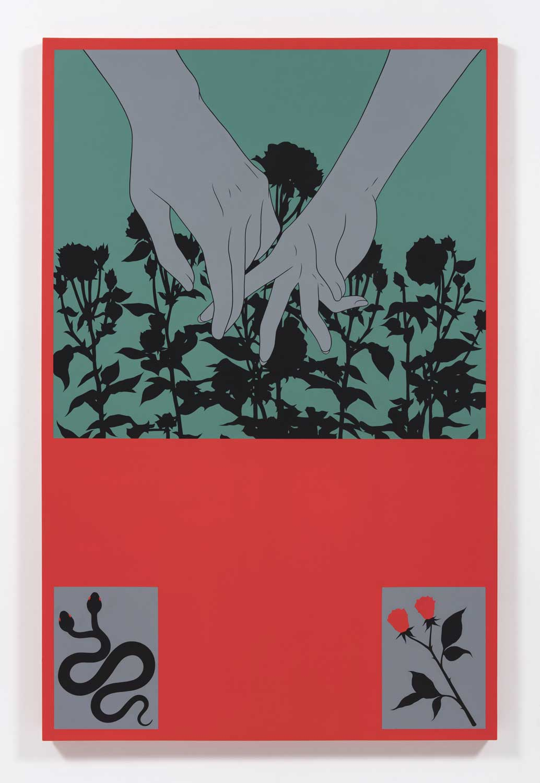"""Snakes In The Garden , 2018, Acrylique sur toile, 74"""" x 48"""""""
