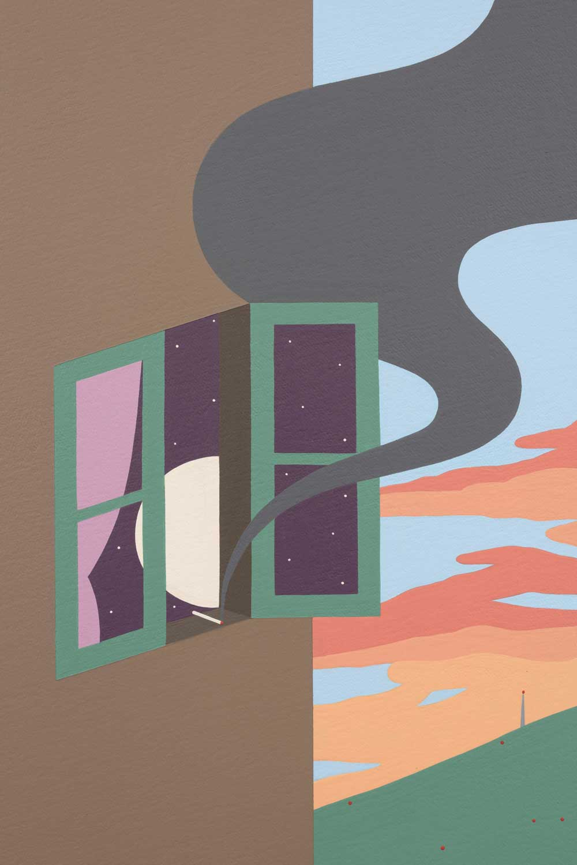 "Blinded by the Sun , 2018, Acrylique sur toile, 47"" x 47"" (Detail)"