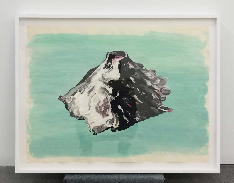 "Green Paper Volcano , 2016, Tempera sur papier, 18"" x 23"""