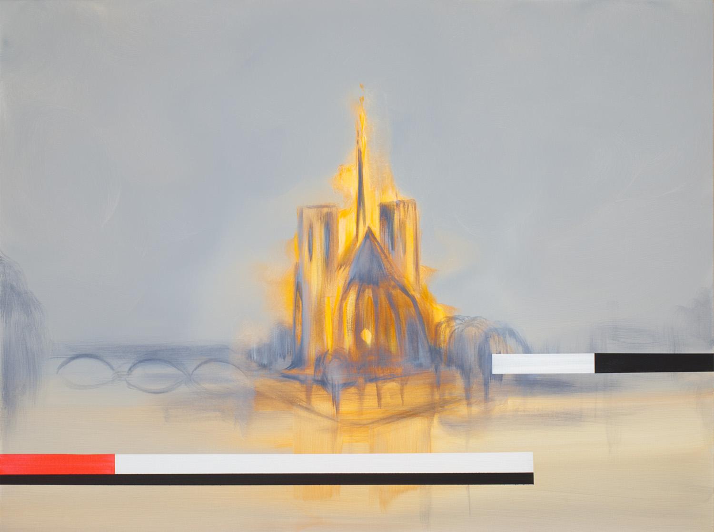 """Breaking News (Notre Dame, Paris France series) , 2019, Acrylique sur toile, 30"""" x 40"""""""