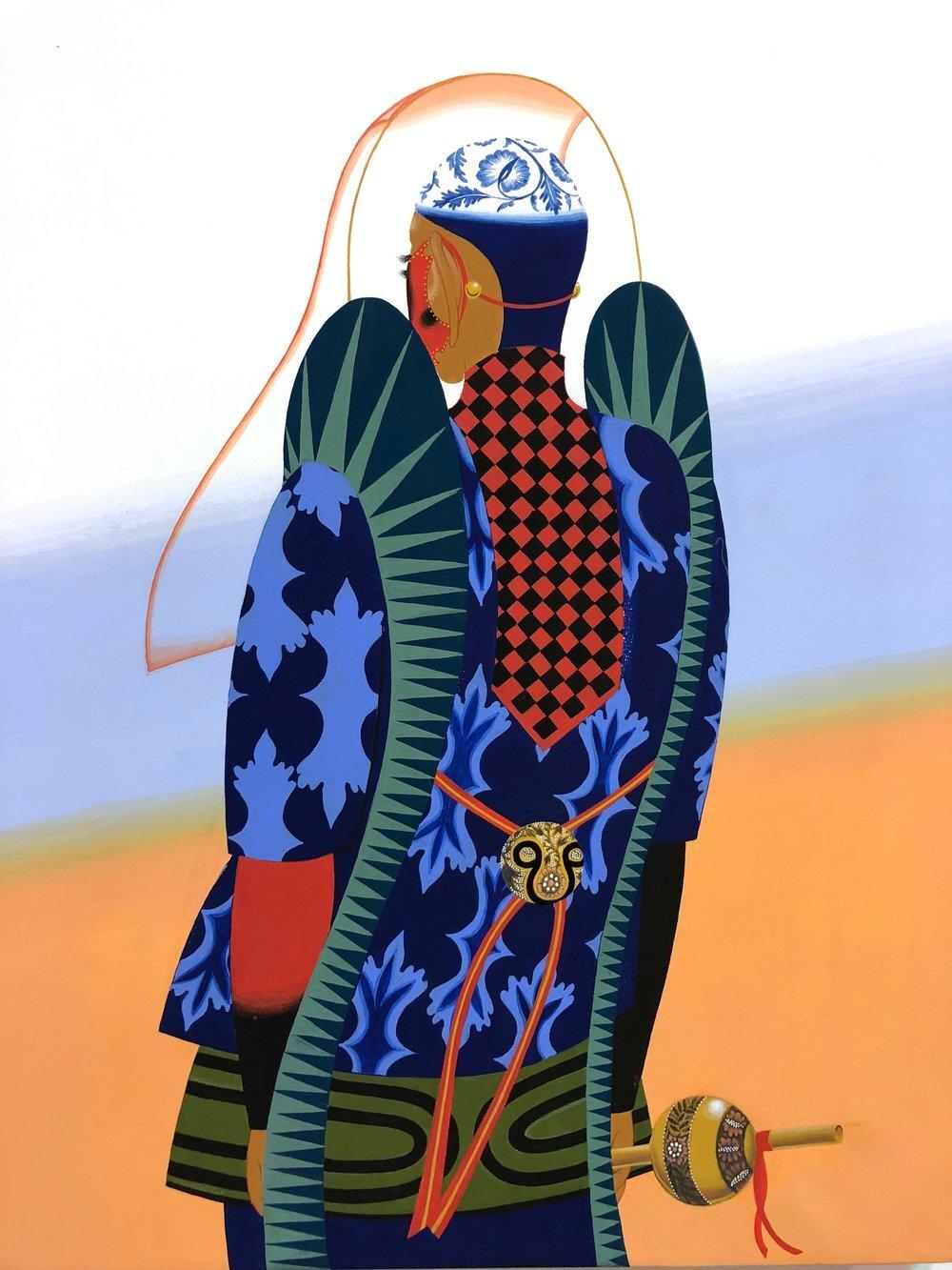"Peaceful Cobra , 2019, Médiums mixtes sur papier, 20"" x 16"""