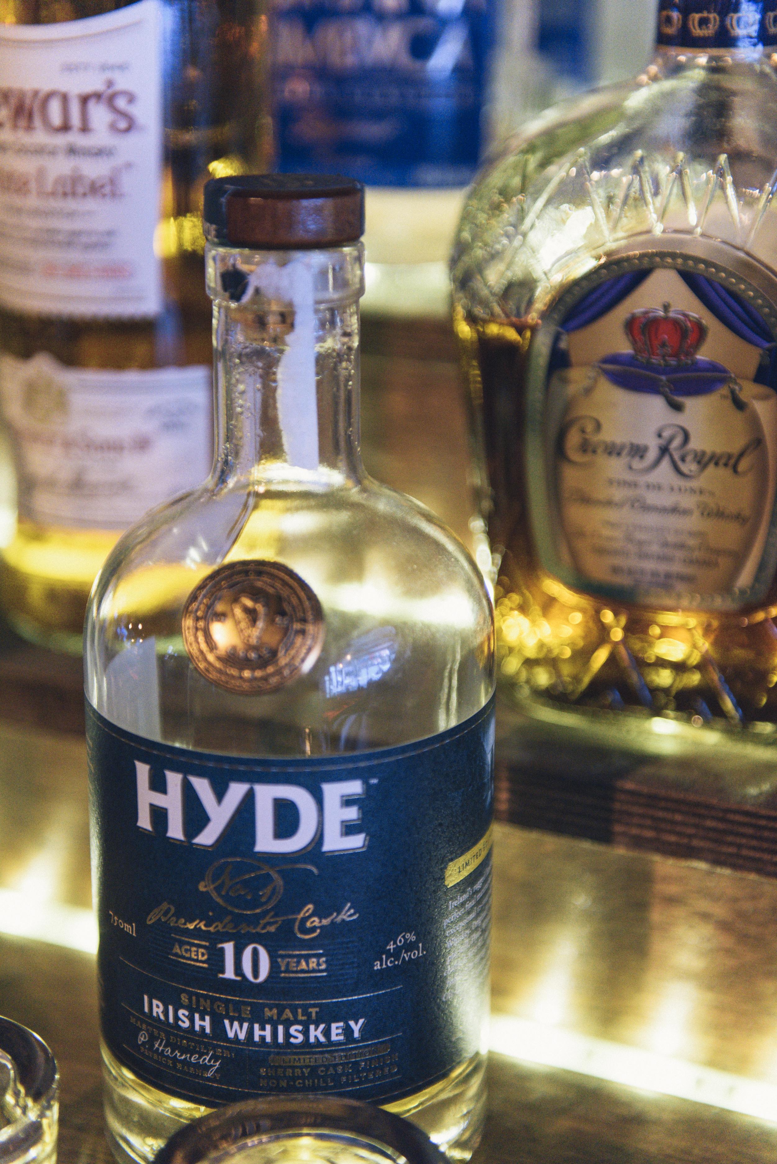 Close up of bottle of Hyde Irish Whiskey