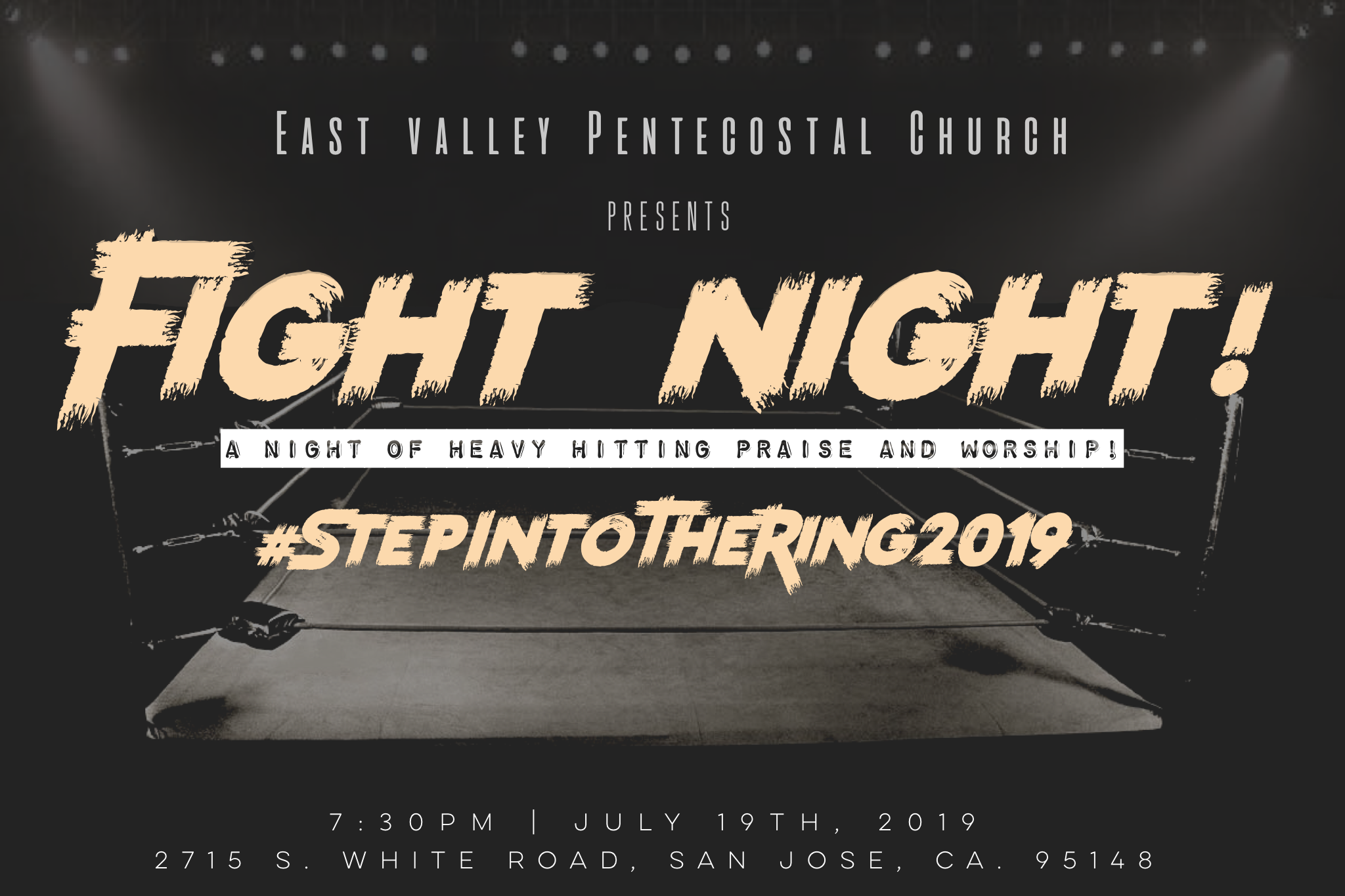 """Step into the ring - Be apart of a life changing event in San Jose, Ca. that has drawn together the likeness of recording artists and passionate individuals who are sick and tired of simply being sick and tired! We are putting together a one night event to encourage everyone involved and those in attendance to Step Into The Ring and FIGHT for the Kingdom of God, for this generation, for righteousness, and for those struggling to continue their walk with God!""""Wherefore take unto you the whole armour of God, that ye may be able to withstand in the evil day, and having done all, to stand."""" - Ephesians 6:13"""