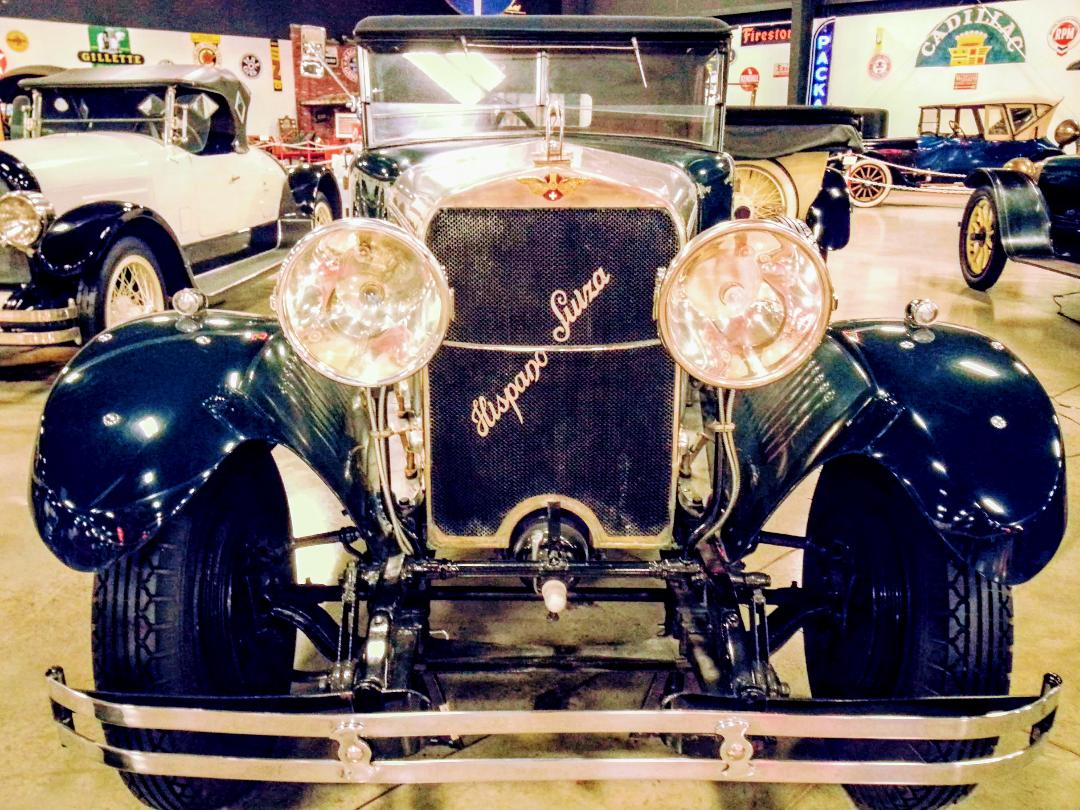 A smiling face and greeting eyes, the 1926 Hispano-Suiza on display at the Tupelo Automobile Museum