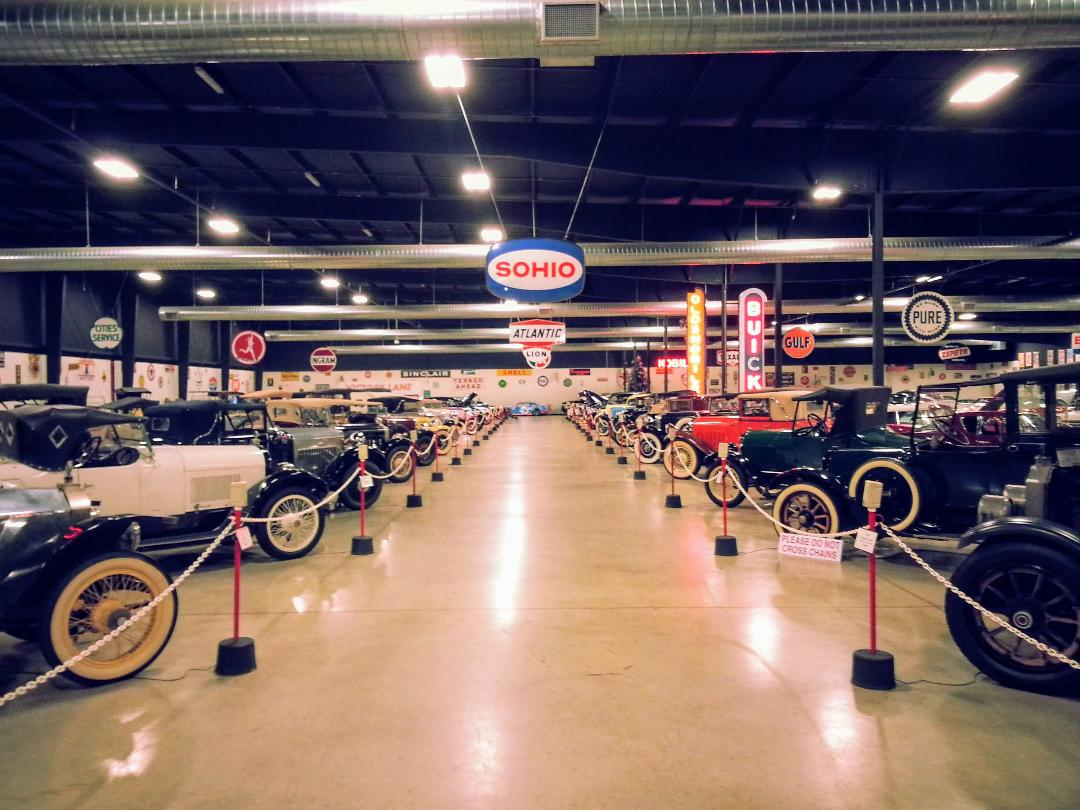 Wide view capturing just a third of the total Tupelo Automobile Museum collection