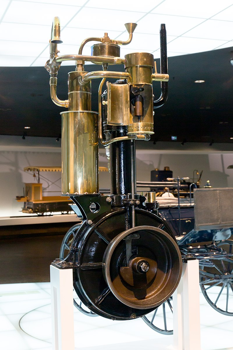 """The Daimler """"grandfather clock"""" engine  within the first gallery of the Mercedes-Benz museum in Stuttgart, Germany."""