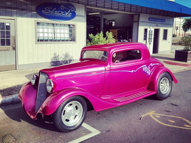 1934 Chevy Hot Rod -  The joys in life of being a mechanic's daughter is seeing what rolls into the shop.. . Yes or No for pink paint schemes? . 💋🏁 Like CARS? Then follow ya girl! 😂 💋🏁 . . . . #chevy #1934chevy #chevyhotrod #hotrod #chevrolet #chevycustom #customchevy #hotrods #hotrodder #hotrodsandmusclecars #hotrodsdaily #hotrodmagazine #customhotrods #hotro