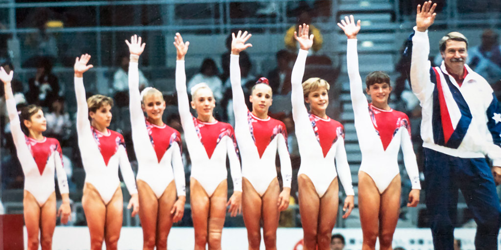 Theresa at the 1995 World Championships (far right next to bela karolyi) - As a team, we won the bronze medal!