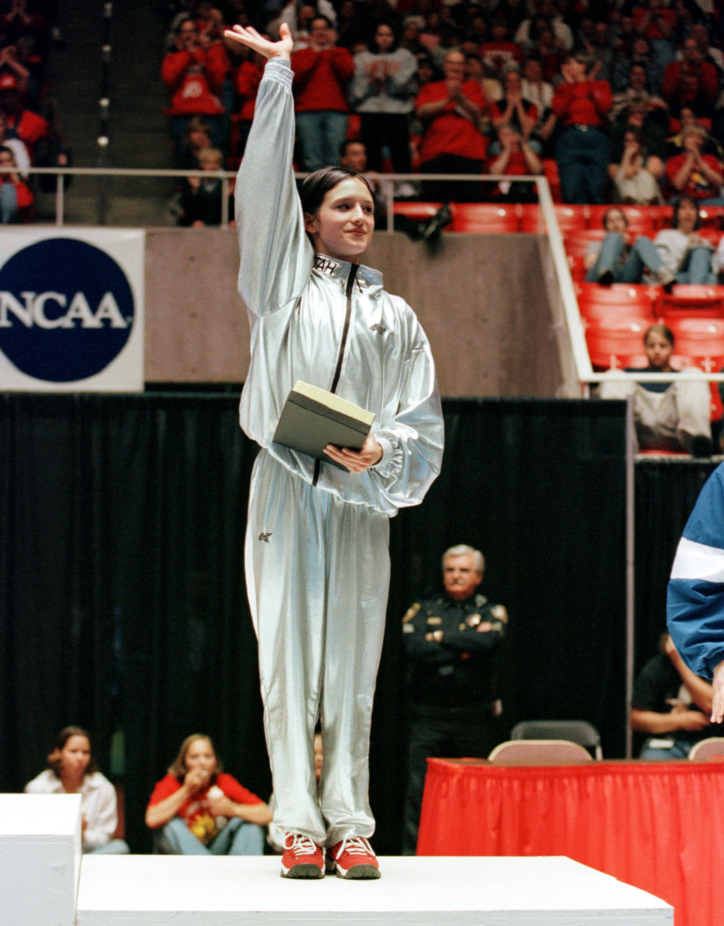 Theresa at the 1999 NCAA Championships in Salt Lake City, Utah - I earned the NCAA all-around and balance beam titles and runner-up on floor and vault