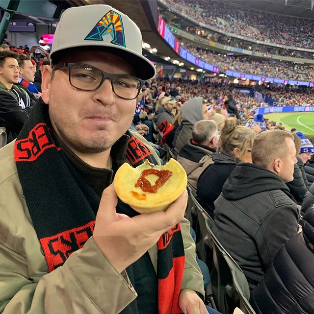 At Aussie Rules Football games, you get a meat pie and put ketchup on it. Better than it looks.