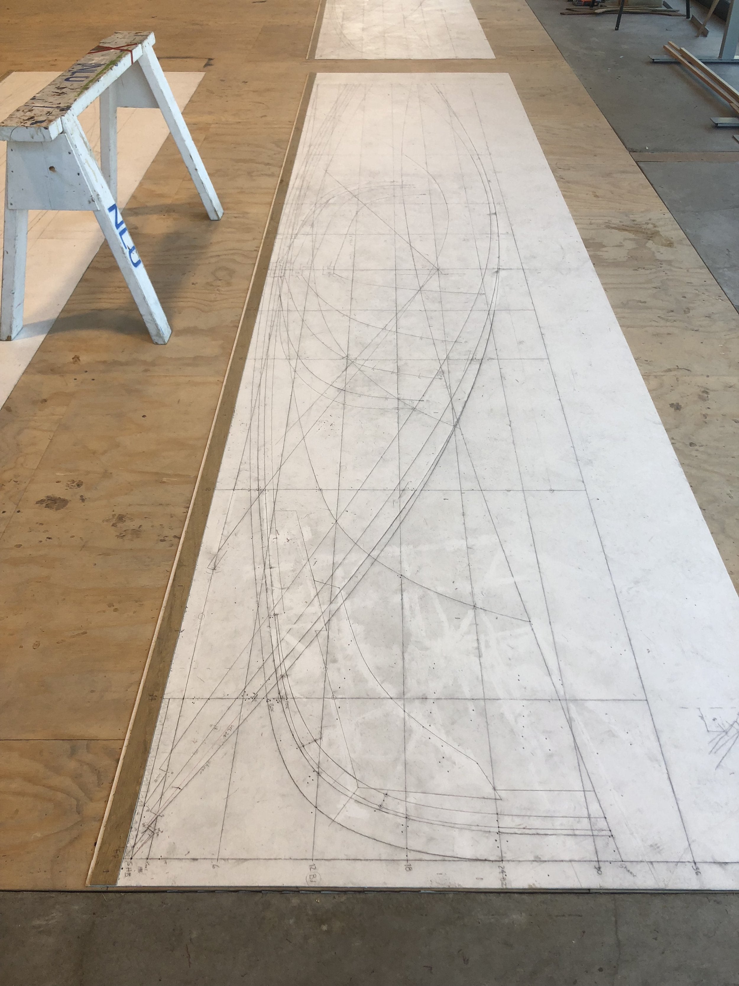 Boat Plans on Floor Sketch