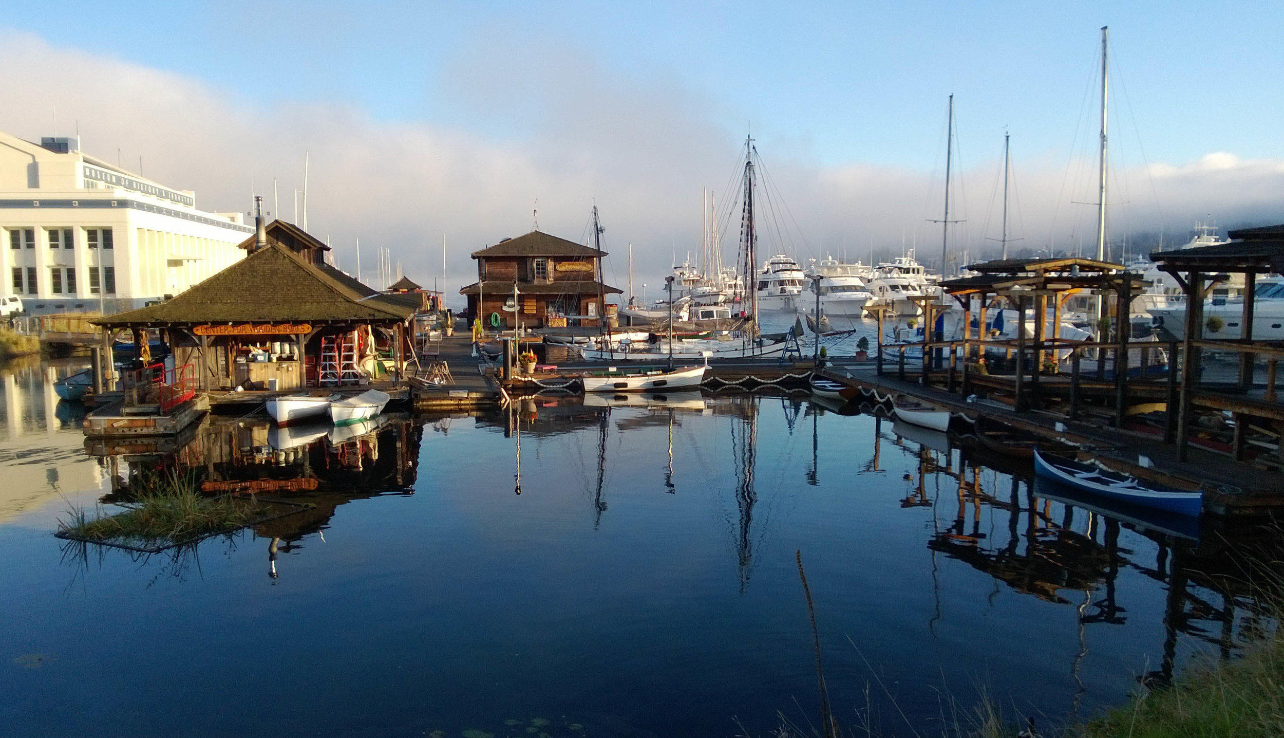 Panoramic Shot of The boathouse and boatshop from the lagoon area