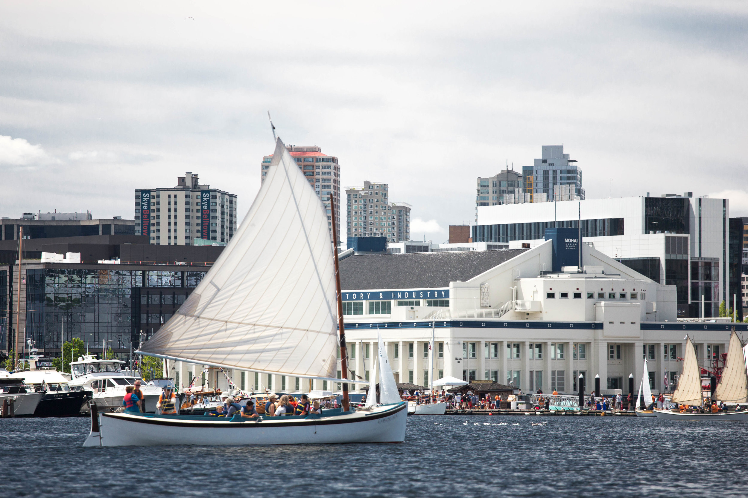 Photo of a boat in front of the Museum of History and Industry