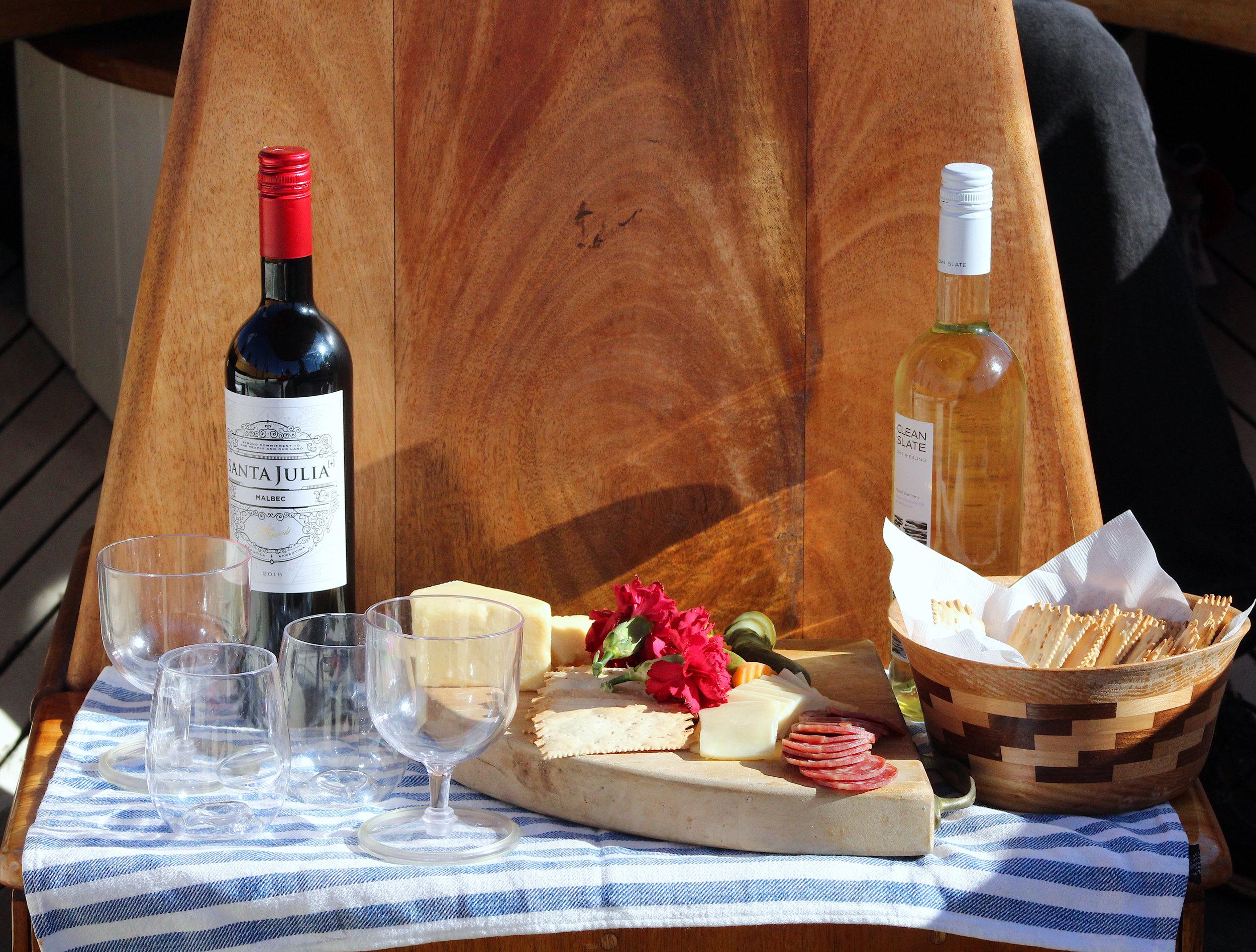 Charcuterie and Wine Spread on Dora.JPG