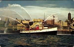 Vintage photo of the Seattle Fireboat Duwamish in action