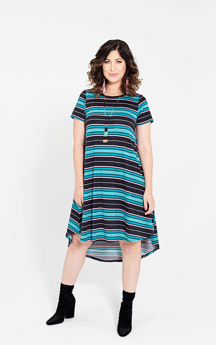 CARLY - This dress is a LuLaRoe favorite! A swing dress that flatters the feminine physique; featuring a patch pocket, a flattering high-low hemline, and cool open sleeves—the Carly has it all! And it gets better! This gorgeous piece comes in a wide array of fabrics, prints, and washes—ensuring you'll want one for every day of the week!