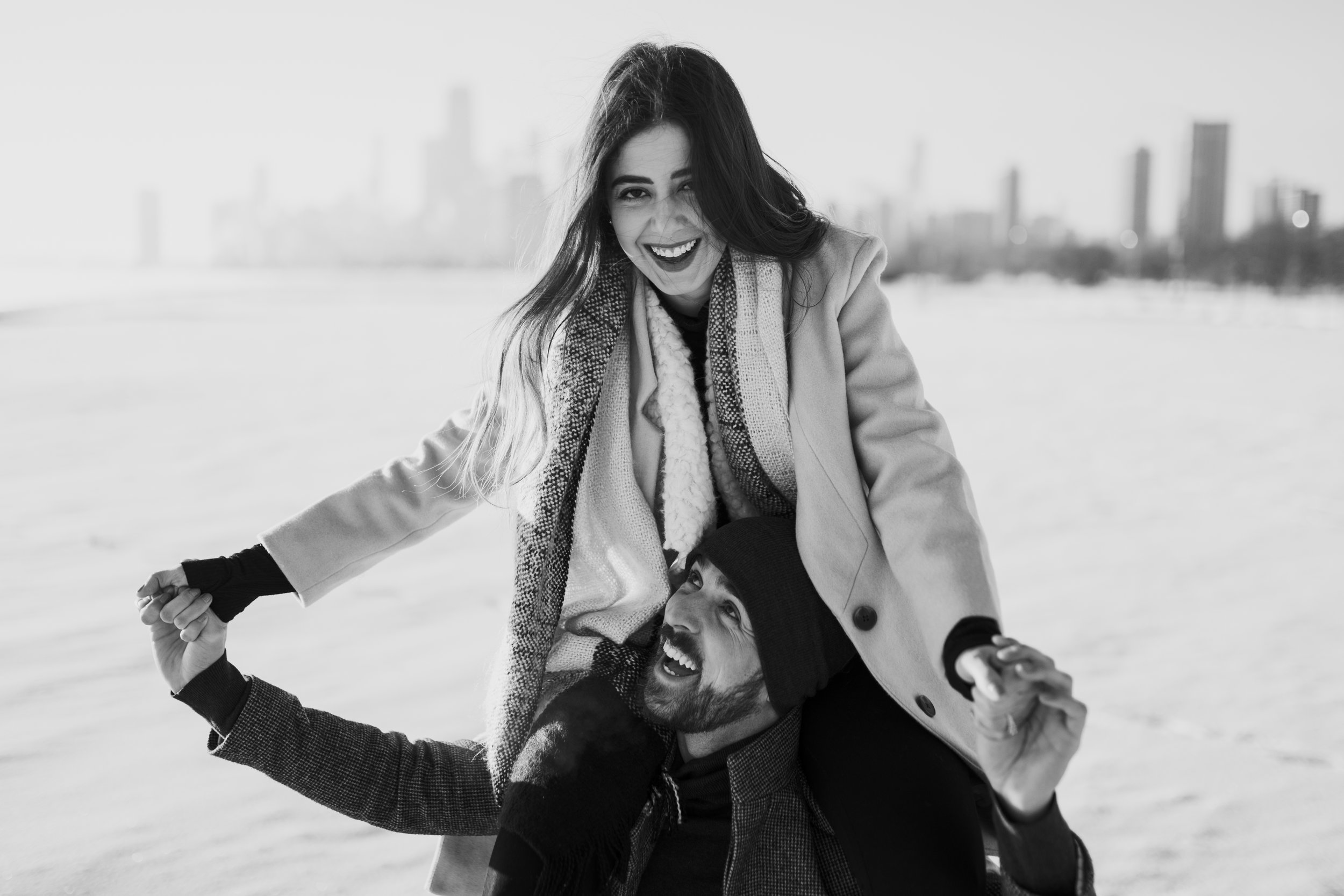 Chicago Winter Sunrise Engagement Photoshoot by Kerri Carlquist Photography