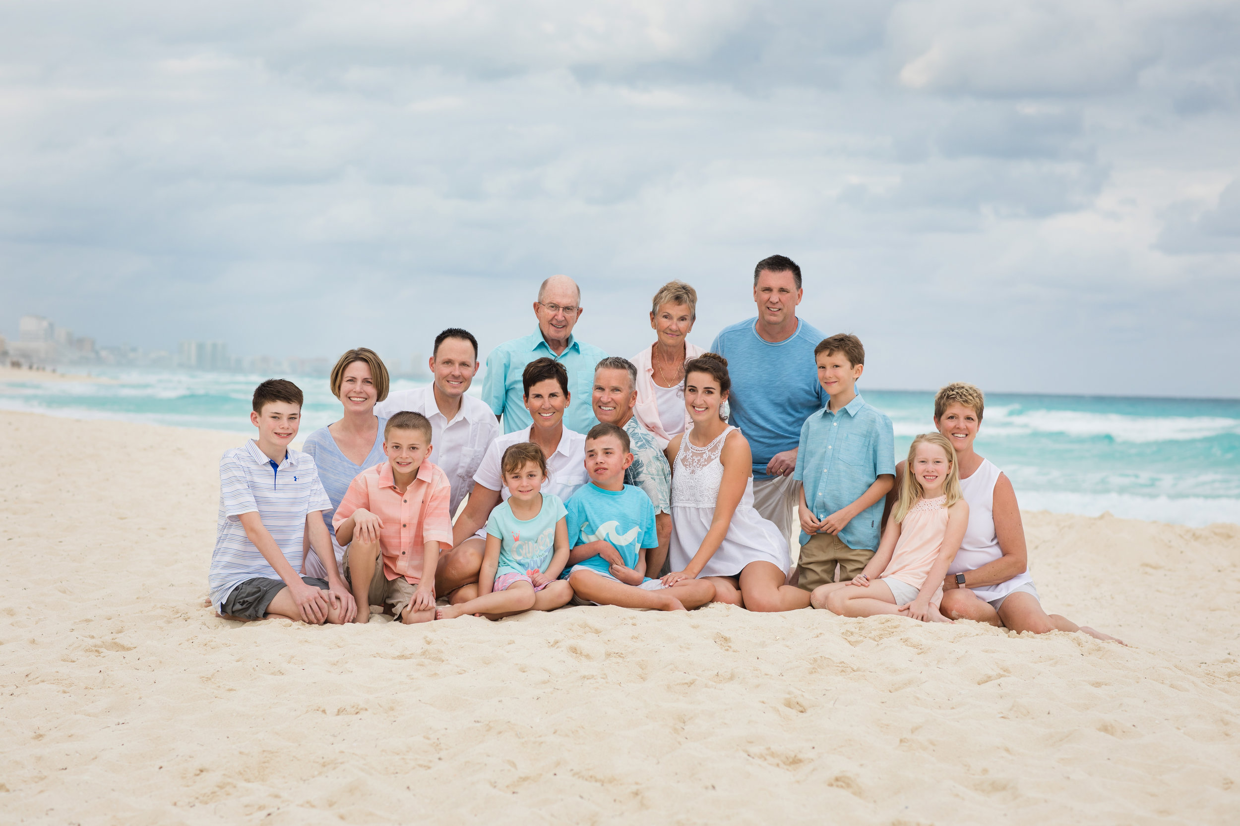 Cancun family on beach