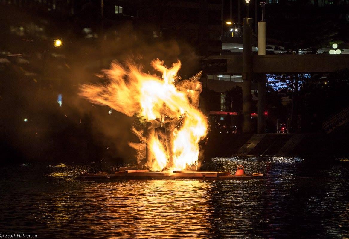 Lōemis 2017  – Somnium burning at Whairepo Lagoon (Photo Scott Halvorsen)