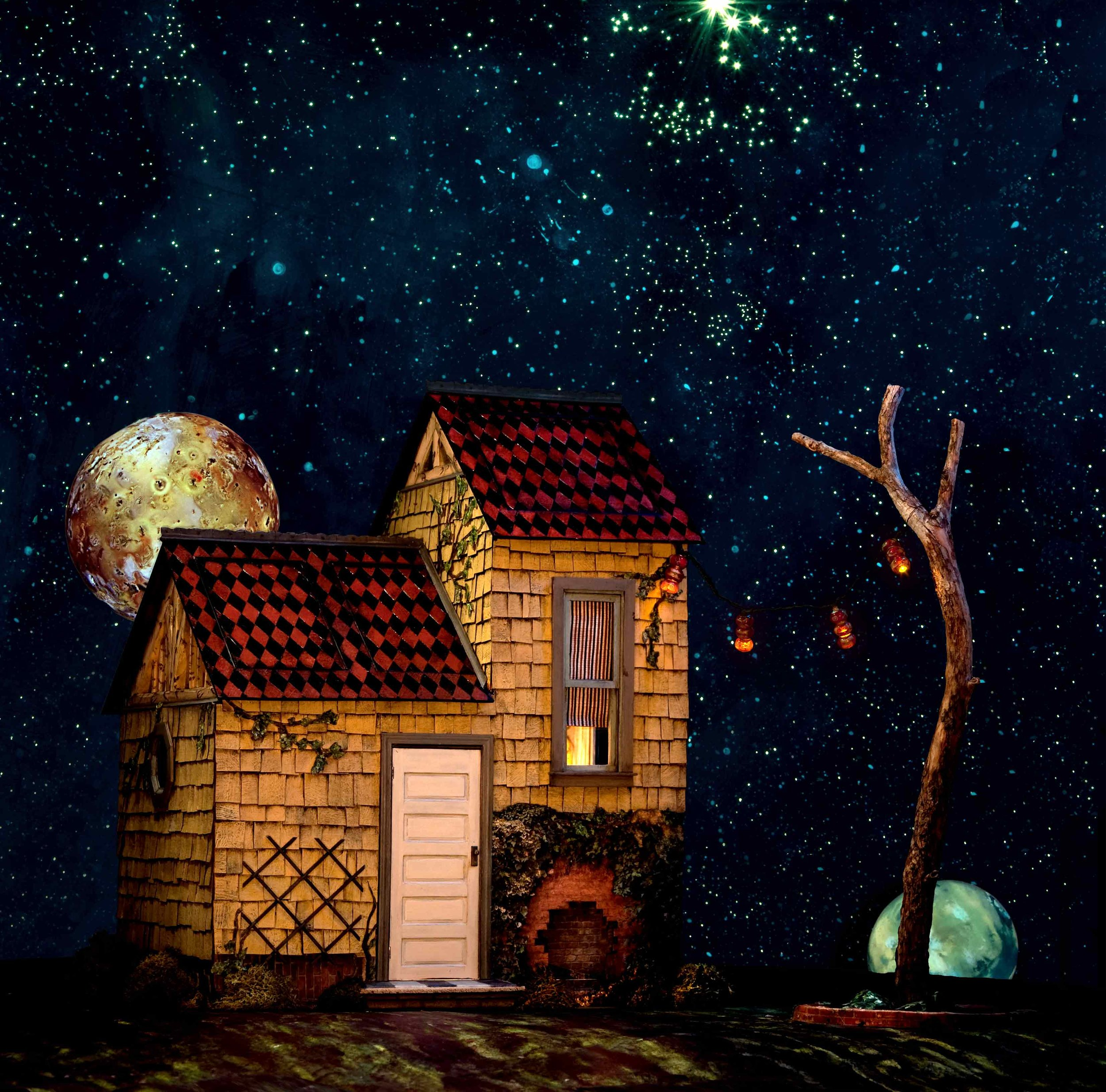 Rabbit House, collaged diorama