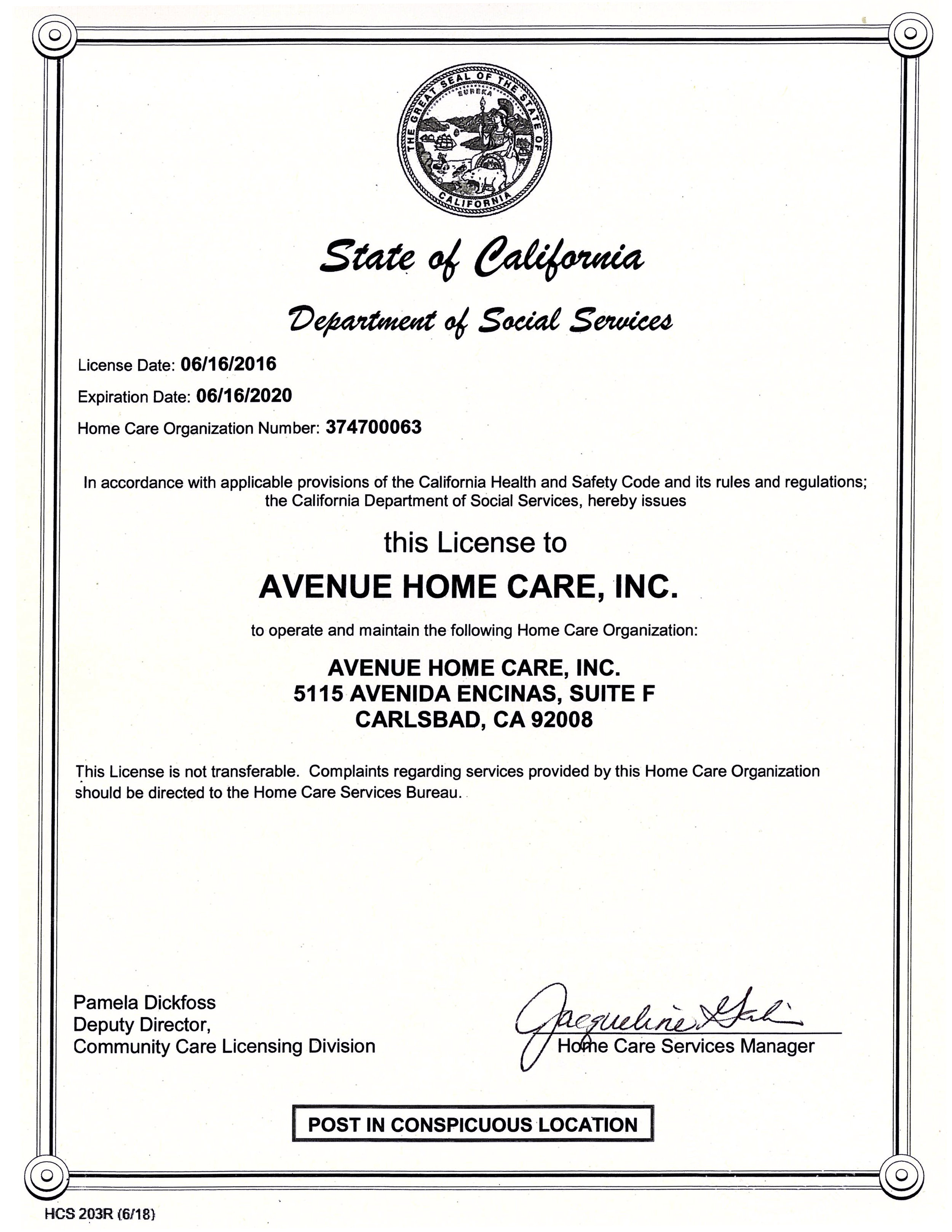 Avenue Home Care State of CA License