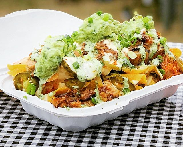 You don't want to miss celebrating National Avocado Day, right?! Join us tonight at @ridgecrestpub and dig into our Kimchee Nachos - topped with your choice of Honey Glazed Pork Belly, Red Curry Chicken, Lemongrass Beef, or Seasonal Sautéed Vegetables layered with gooey cheese sauce, kimchee, pickled cucumbers & jalapenos, avocado, cilantro aioli, green onions, and shredded lettuce atop corn tortilla chips #beerandnachos #kimchinachos #nationalavocadoday #foodtruck #chinolatino #beerme #summernights