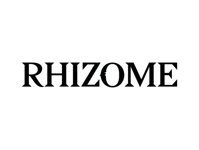 Rhizome logo. Links to Rhizome site.