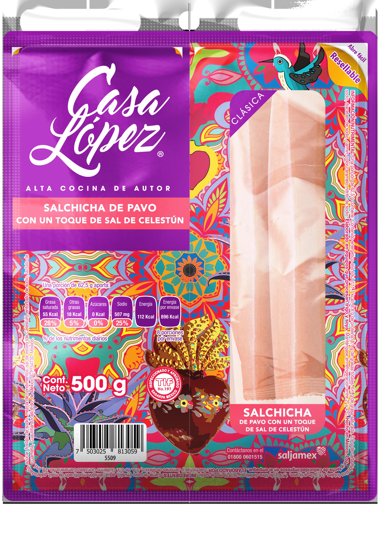 Salchicha de Pavo con un Toque de Sal de Celestún Casa López